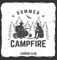 Summer campfire badge vector