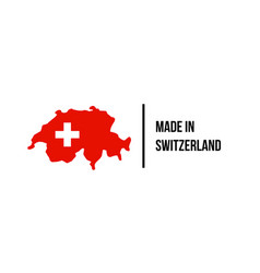 swiss made icon switzerland flag map quality seal vector image