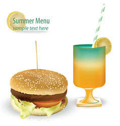 Tasty burger and fresh summer cocktail tomato vector