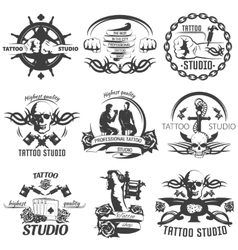 Tattoo Studio Black White Emblems vector image