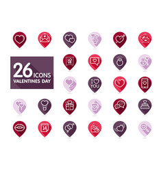 valentine day set pin map icons vector image