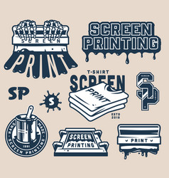 Vintage light screen printing elements set vector