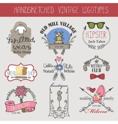 Vintage logotypes setDoodle hand sketched vector image vector image