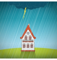 Vintage lonely house on the rain vector