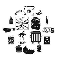 waste and garbage icons set black style vector image