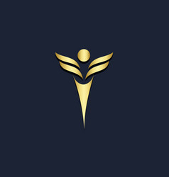 Winner abstract victory gold logo vector