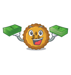 With money bag apple pie on the character board vector