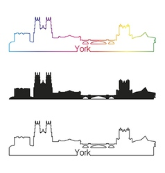 York skyline linear style with rainbow vector image