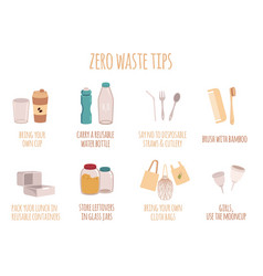 zero waste tips for eco life with text in a flat vector image