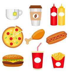 junk food colorful logo collection poster vector image vector image