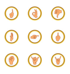 popular gestures icons set cartoon style vector image