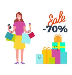 sale -70 woman full of joy vector image vector image