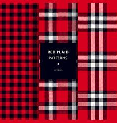 Scottish red plaid patterns vector
