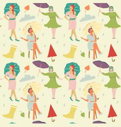 vintage fashion seamless pattern faceless women vector image