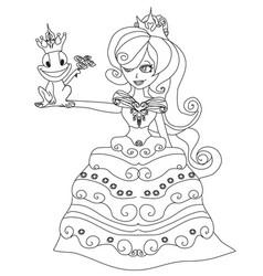 Beautiful young princess and big frog vector