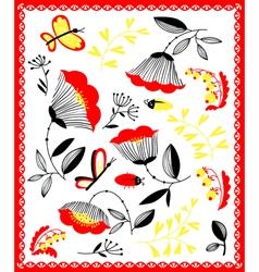 Cartoon floral decorative design elements set vector image vector image