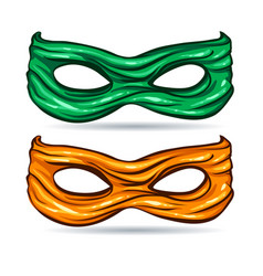 green and yellow mask for face character super vector image