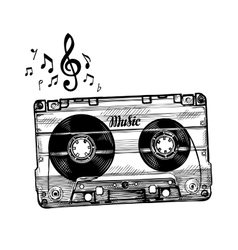 Hand-drawn cassette music Sketch audio tape vector image vector image