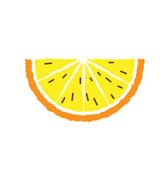 lemon and orange slice hand draw vector image