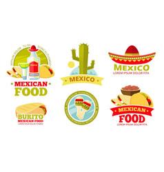 Mexican salsa food restaurant badges vector
