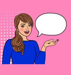 retro girl with empty speech bubble vector image vector image