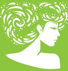 Silhouette of a girl with original hairstyle vector