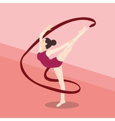 synchronized ribbon rhytmic dance athletic young vector image vector image