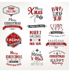 Bright Christmas Lettering Set vector image