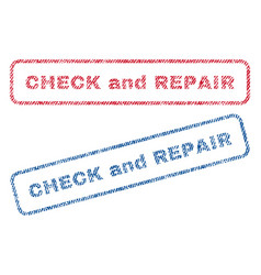 check and repair textile stamps vector image vector image