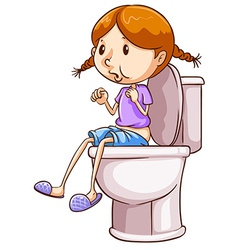 Girl and toilet vector image