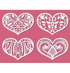 Laser printing romantic lacy wedding hearts with vector