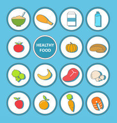 set of healthy food icons in flat style vector image vector image