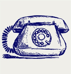 Telephon with rotary dial vector image vector image