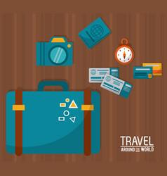Travel around the world blue suitcase tickets vector