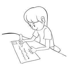 writing boy outline vector image vector image