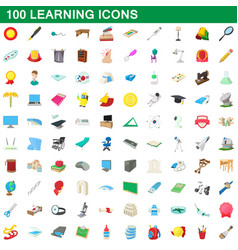 100 learning icons set cartoon style vector image