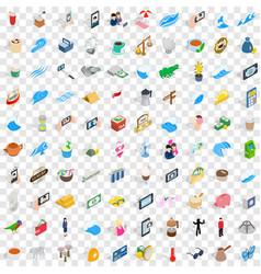 100 singapore icons set isometric 3d style vector image