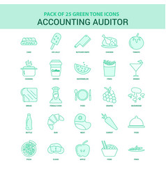 25 green accounting auditor icon set vector