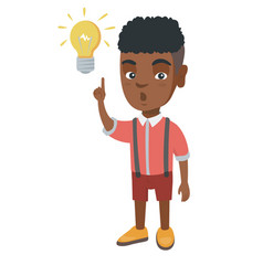 African little boy pointing at the lightbulb vector