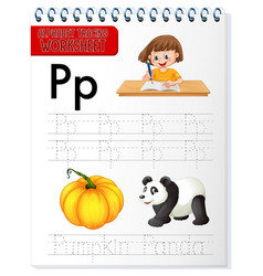 alphabet tracing worksheet with letter p and p vector image