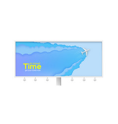 billboard with flying airplane on abstract blue vector image