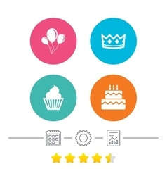 Birthday party icons Cake and cupcake symbol vector image vector image