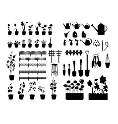 Black silhouettes of gardening tools plants vector