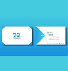 Blue business card ready print design vector