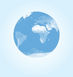 Blue earth globe made with triangles vector