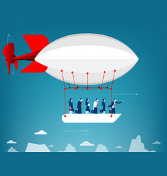 business team flying in the sky on hot air vector image
