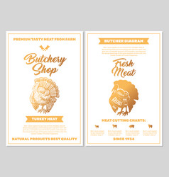 Butchery shop poster with turkey meat cutting vector