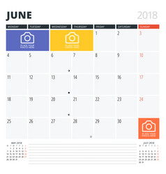 Calendar planner for june 2018 print design vector
