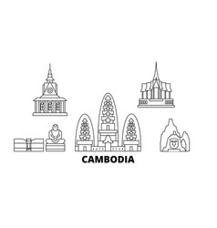 cambodia line travel skyline set cambodia outline vector image