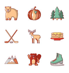 Canada toy icons set flat style vector